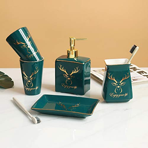 Soap Dispenser for Bathroom Bathroom Accessories Set 5-Piece Green Ceramic Bath Accessory Completes with Lotion Dispenser/Soap Pump Toothbrush Holder Tumbler Mini Storage Tray Golden Deer Head Decorat
