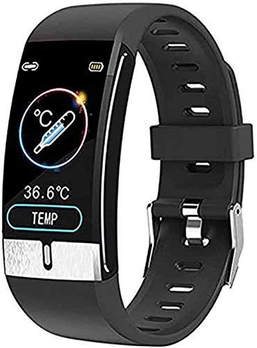 JSL Termómetro de medición con reloj inteligente con ECG, monitor de frecuencia cardíaca, monitor de presión arterial, contador de pasos, para niños, hombres y mujeres, uso diario, negro, rojo y negro