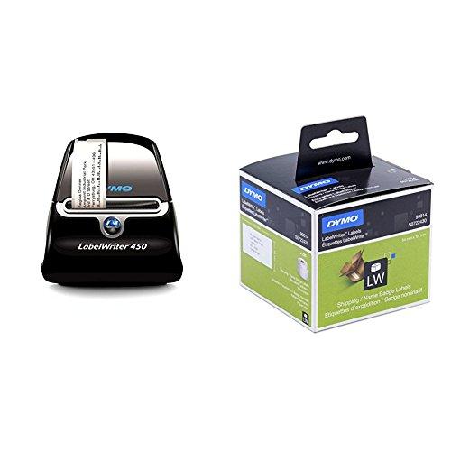 Dymo S0838770 LabelWriter 450-Serie + S0722430 LW Große Versandetiketten/Namensschilder (101 mm x 54 mm Rolle, 220 Stück) schwarzer Druck auf weiß