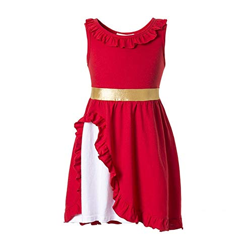 Elena of Avalor Adventure Dress Traditional Spanish Princess Dress up Costume for Girls Tiara Costume (Red, 5-6)