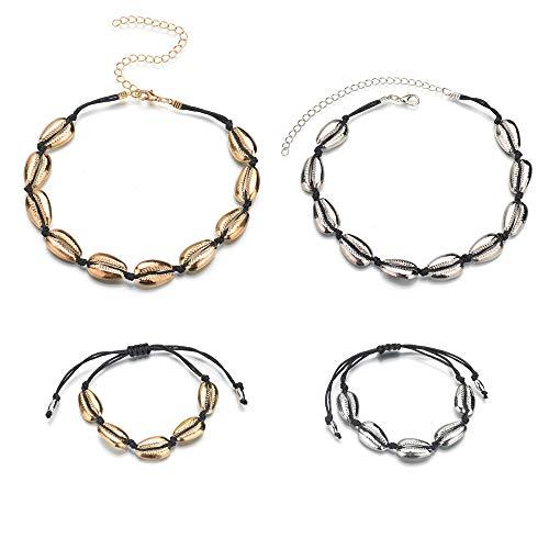 Huture 4pcs Collar de Conchas y Pulsera de Conchas Set Joyas con Gargantilla de Concha Collar...