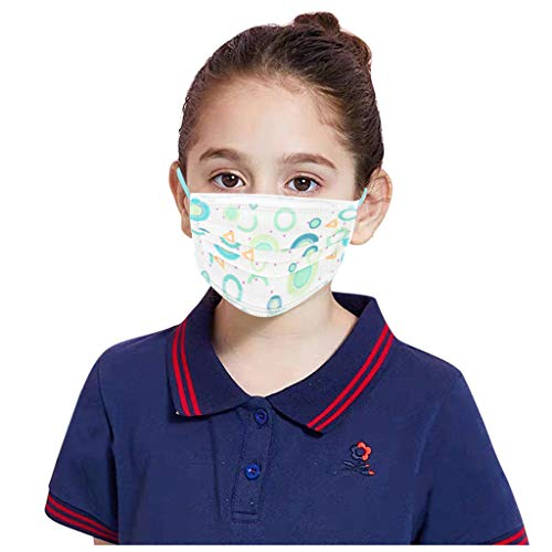 Check Out This JIUDASG 40PCS Children Disposable 3Ply Printed Face Dustproof Non-Woven Face Bandanas