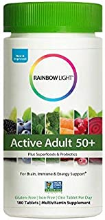 Rainbow Light - Active Adult 50+ Non-GMO Project Verified Multivitamin - Plus Superfoods & Probiotics - Daily Vitamin and Mineral Supplement, Brain, Immu ne and Energy Support - 180 Tablets