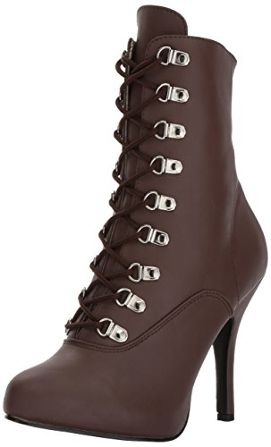 Pleaser Pink Label Women's Eve106/Bnpu Ankle Bootie, Brown Faux Leather, 12 M US