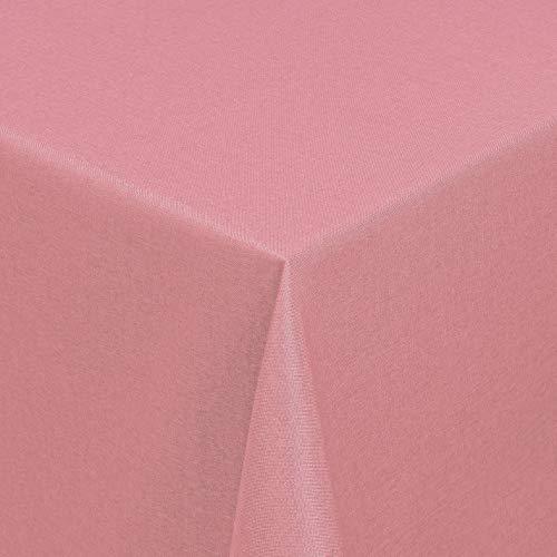 Leinen Optik Tischdecke Tischtuch Tafeldecke Leinendecke Abwaschbar Wasserabweisend Eckig 110 x 140 cm Altrosa/Rosa Fleckschutz Pflegeleicht mit Saumrand Leinentuch