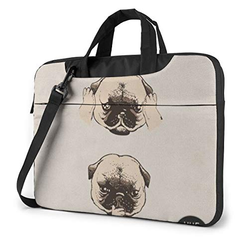 MATEH Pug Thinking Laptop Sleeve Case 15.6 Inch Computer Tote Bag Shoulder Messenger Briefcase for Business Travel