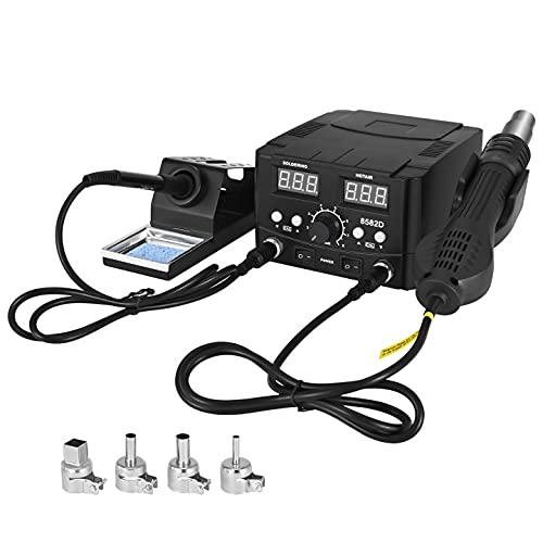 TOPQSC Stazione di dissaldatura ad aria calda, 2 in 1 Pistola ad aria calda Kit Saldatore Digitale Kit di Saldatura a LED Display Digitale, Calibrazione della Temperatura Digitale