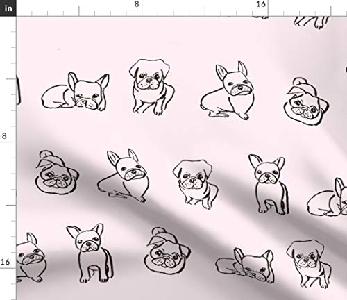 Spoonflower Fabric - Frenchie Pug Pale Pink French Bulldog Puppies Line Drawing Pet Dogs Printed on Petal Signature Cotton Fabric by The Yard - Sewing Quilting Apparel Crafts Decor