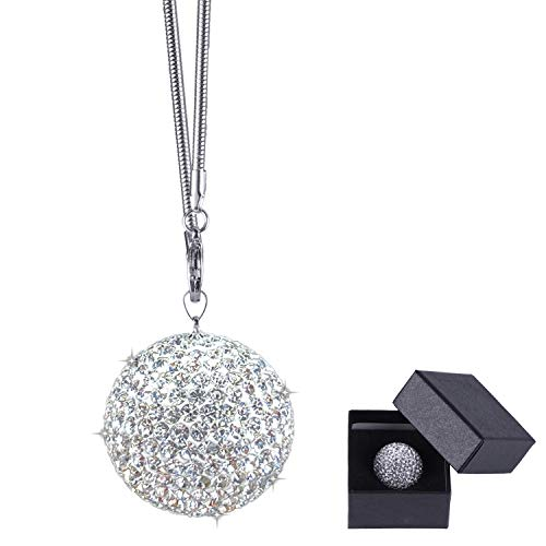 JUSTTOP Crystal Ball Car Rear View Mirror Charm, Crystal Rhinestone Home Decor Hanging Ornament