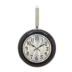 Deco 79 98437 Iron Wall Clock, 19 x 11, Black/Silver