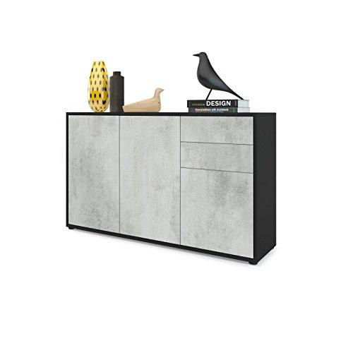 Vladon Kommode Sideboard Ben V3, Korpus in Schwarz matt/Fronten in Beton Oxid Optik