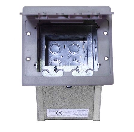 Compact In-floor Two-gang Data/Telecom Box with Cover