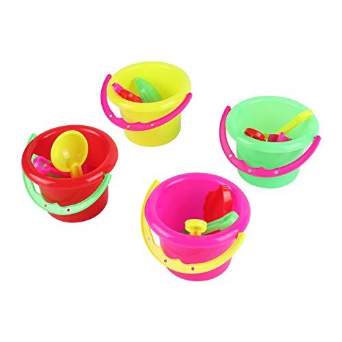 Lorenlli 4 unids Novedad Mini Juguetes de Playa Conjunto Cubos de Arena Cubo con Pala Rastrillo Piscina de Playa de Arena Juego de Juguetes de Verano para Niños Niños