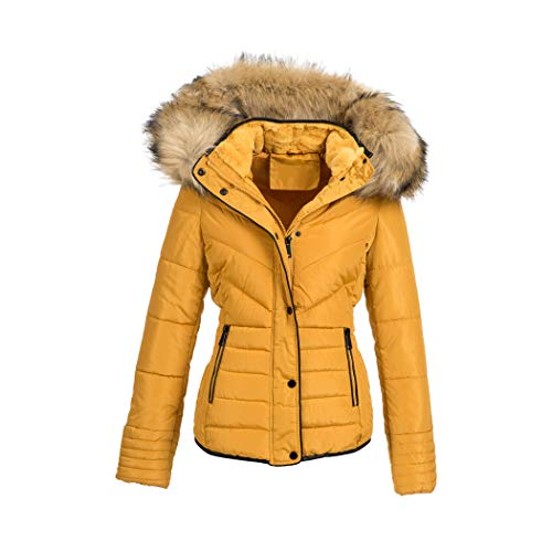 Elara Damen Steppjacke Winter tailliert Gelb Chunkyrayan MP19901 Yellow 42 (XL)