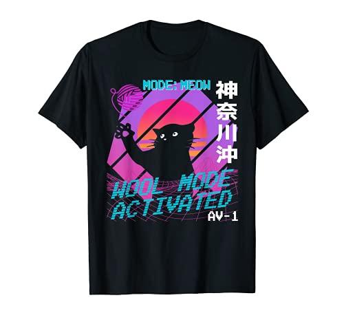 90s Pastel Cat Lana Modo Retro Japonés Vaporwave Estética Camiseta