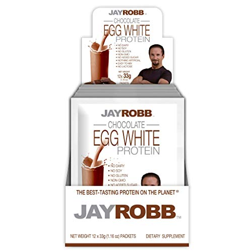 Jay Robb Egg White Protein Powder, Low Carb, Keto, Vegetarian, Gluten Free, Lactose Free, No Sugar Added, No Fat, No Soy, Nothing Artificial, Non-GMO, Best-Tasting (Convenient Individual Packet, Chocolate)