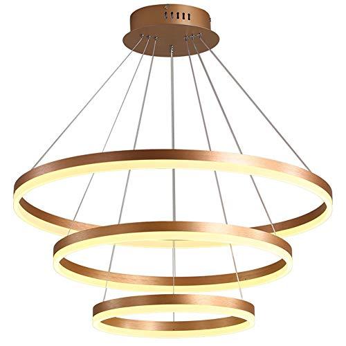 Lampe à suspension LED lampe de salon design moderne ronde Suspension Luminaire hauteur réglable lustre table à manger salle d'étude Pendante Lampe Trois anneaux 90W Ø 80 + 60 + 40cm, lumière blanche