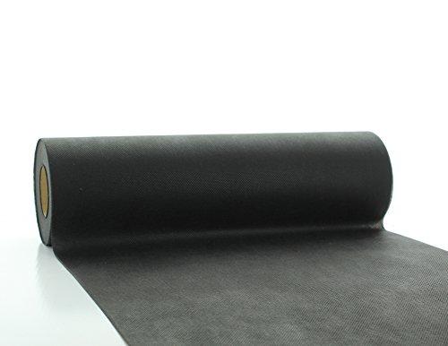 Vlies-Tischläufer Tischband Schwarz 30cmx20m | abwaschbar | Tischdeckenrolle stoffähnlich | Feier | Geburtstag | Party (auf der Rolle) (Schwarz)