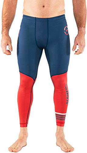 Virus Au8.5 | Bioceramic Compression Tech Pants (Space Blue/Cranberry, Large)