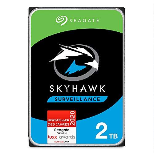 SeagateSkyHawk, interne Festplatte 2 TB HDD, Videoaufnahme bis zu 64 Kameras, 3.5 Zoll, 64 MB Cache, SATA 6 Gb/s, silber, FFP, inkl. 3 Jahre Rescue Service, Modellnr.: ST2000VXZ08