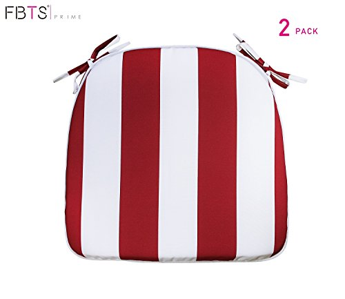 FBTS Prime Outdoor Chair Cushions (Set of 2) 16x17 Inch Patio Seat Cushions Red and White Stripe Square Chair Pads for Outdoor Patio Furniture Garden Home Office