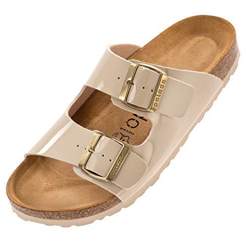Palado® Damen Sandale Korfu | Made in EU | Pantoletten in modischen Farben | 2-Riemen Sandaletten mit Natur Kork-Fussbett | Herren Hausschuhe mit Leder-Laufsohle Lack Creme Beige 36 EU thumbnail