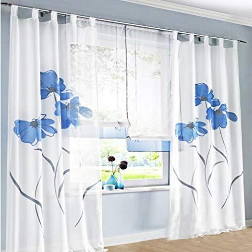 SIMPVALE 2 stücks Gardinenschal Gardine Print Blumen Vorhang für Wohnzimmer Schlafzimmer Schlaufenschal Breit 150cm (Hoehe 245cm, Blau)