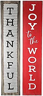 burton+BURTON Thankful/Joy to The World Reversible Sign, Gray & Red, 7.5