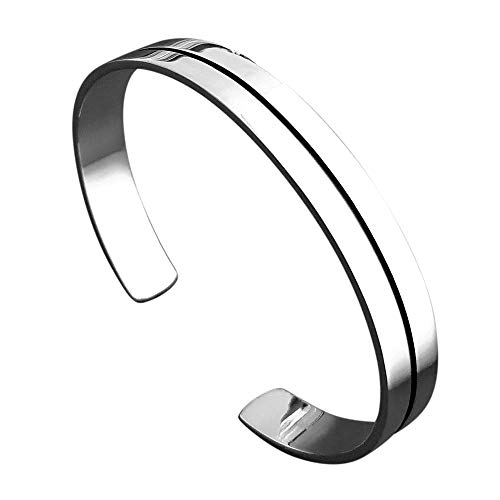 TreasureBay Men's Solid 925 Sterling Silver Bangle Flat Torque Style Black Resin Silver Bangle 30grams