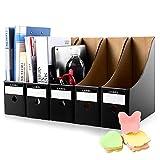HINATAA Caja de Almacenamiento de la Oficina Revistero,5 PCS Porta Revistas Kraft A4 Organizador de Papel,Organizador de Documentos y Archivos,para Oficina en Casa Caja de Almacenamiento (Negro)