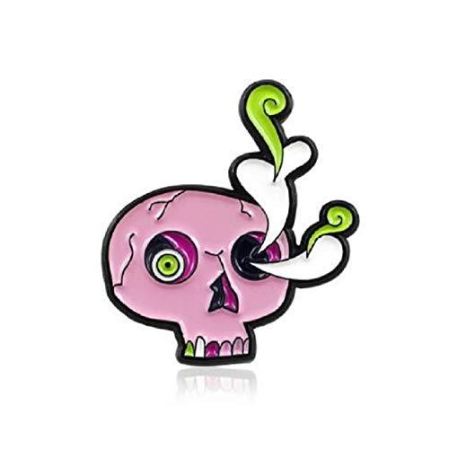 JTXZD broche Mode nieuwe drie-kleuren schedel kawaii soorten in de ogen planten glazuur royale trend persoonlijkheid denim tas broche klein