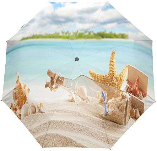 Ocean Beach Regenschirm, Seestern, Sand, Muschel, 3 Falten, automatisches Öffnen und Schließen