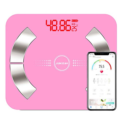 CFFDDE Digitale personenweegschaal, bluetooth-weegschaal, intelligente app, 59 gegevens, spraakoverdracht, instellingen voor meerdere gebruikers, zeer nauwkeurige weegschaal voor de analyse van de lichaamssamenstelling Battery roze