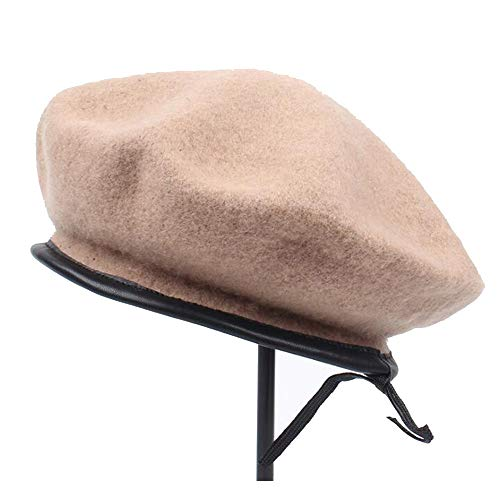 Best Price Hat Women's Leather Wool Berets Autumn and Winter groundless England Painter (Color : 03,...