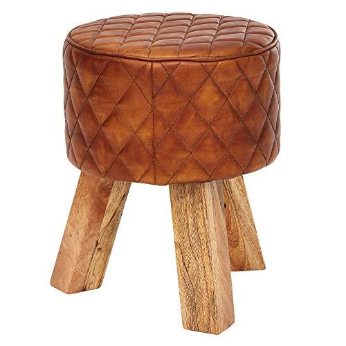FineBuy Sitzhocker Echtleder/Massivholz 35x46x35 cm Modern Fußhocker Rund | Turnbock Lederhocker Braun | Kleiner Hocker Gepolstert | Holzhocker mit Leder-Bezug