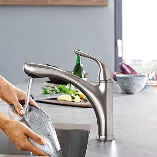 Grifo de latón macizo giratorio 360 de una manija para rociadores de cocina montados en la cubierta 2 características de níquel cepillado,3CS4FDOY2PINB