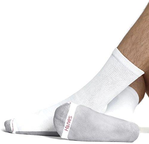 Hanes USA Herren Kissen Crew weiß Sport Socken 6–12