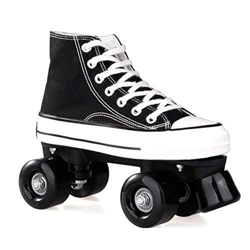 HealHeatersⓇ Rollschuhe My First Quad Mädchen Mit PU-Rad Zweireihige Wheel Roller Classicroller Rollerskates Rollschuhe Artistic, Sicherheit Und Komfort,Schwarz,39