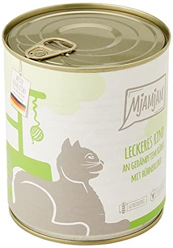 MjAMjAM - Premium Nassfutter für Katzen - leckeres Rind an gedämpftem Kürbis, 6er Pack (6 x 800 g), getreidefrei mit extra viel Fleisch