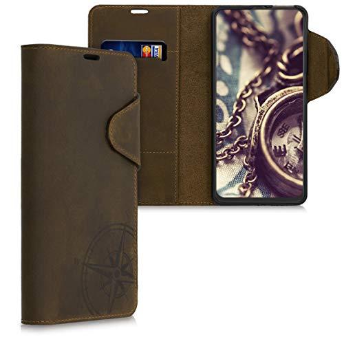 kalibri Wallet Hülle kompatibel mit Motorola One Hyper - Hülle Leder - Handy Cover Handyhülle Kompass Vintage Braun