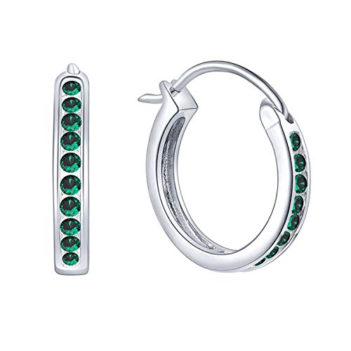 JO WISDOM Hoop Earrings,925 Sterling Silver 3A Cubic Zironia May Birthstone Emerald Color Hoop Earrings,Jewellery for Women
