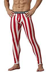 Men's full-length thermal long johns. Striped in red and white color.