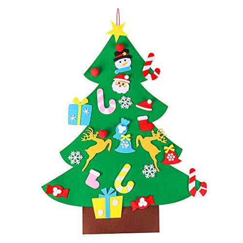 Tinksky Árbol de Navidad de Fieltro DIY con 26pcs Adornos Desmontables Árbol de Navidad Colgante de Pared niños Decoraciones de Navidad