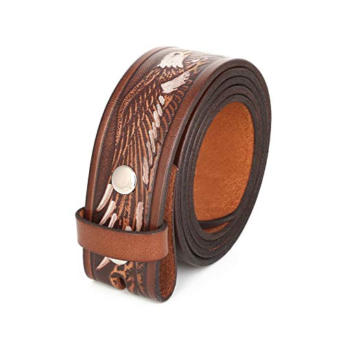 Unisex Full Grain Genuine Leather Hand Painted Eagle Belt Strap Without Buckle (38-40 (L))