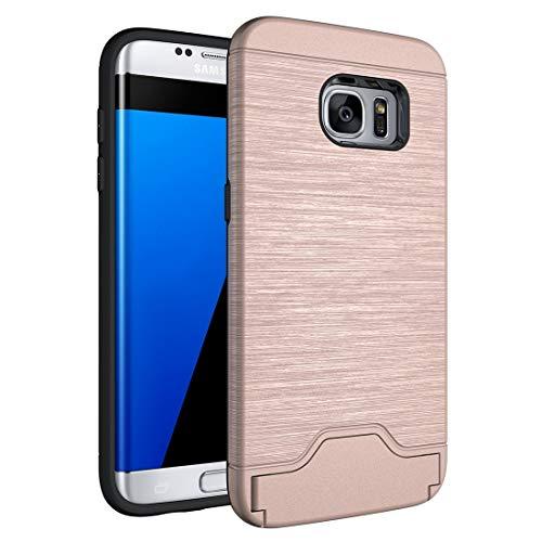 ZAORUN Cubiertas Protectoras de Cellphone Compatible for Samsung Galaxy S7 Edge / G935 Textura cepillada Separable TPU PC combinación de Nuevo Caso con Ranura Compatible for Tarjeta y Soporte