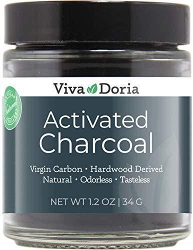 Viva Doria Virgin Activated Charcoal Powder - Food Grade (1.2 oz Glass jar)