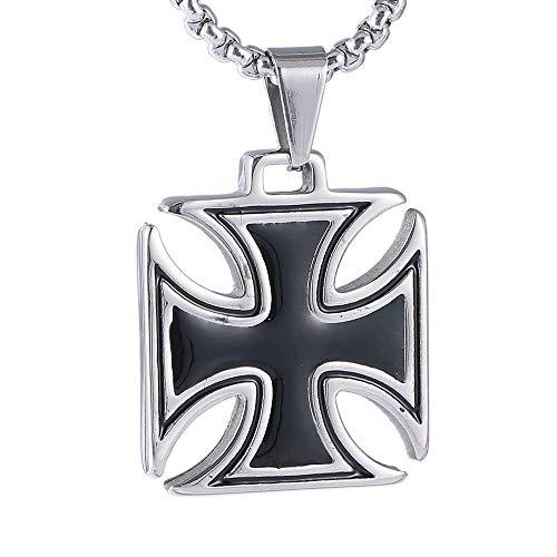 VAWAA Hombres Collar de Acero Inoxidable Vintage Caballeros Templario Hierro Cruz Colgante Collar Mujeres Biker Malta Cruz joyería