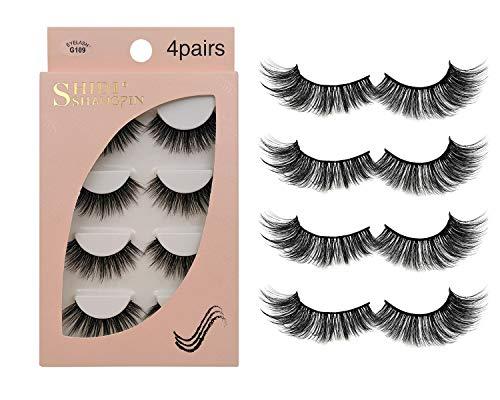 Faux Cils 4 Paires - Coupe de cils réutilisables professionnels pour le visage pour tous les yeux, Naturel épais fait à la main Cils 3D en Faux Vison pour un beau maquillage Look G109