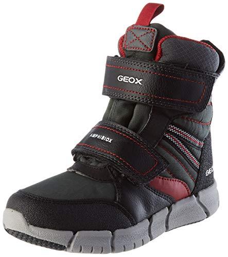 Geox J FLEXYPER BOY B ABX Snow Boot, Schwarz (Black/Dk Red), 31 EU