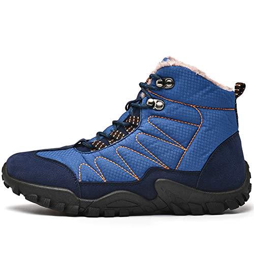 YQY para Hombre de la Nieve, Cargadores del Invierno Caliente del Tobillo Totalmente Alineada Piel del Cuero Antideslizante Botas de Trabajo Caminar al Aire Libre Senderismo Urbano,Azul,44